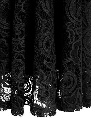 Dressystar Vestido Fiesta Corto Flor Encaje Elegante Mujer Sin Mangas para Dama De Honor Negro S