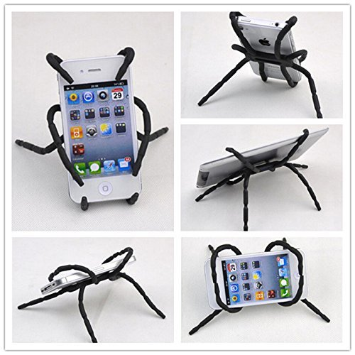 ANGELANGELA 3222641 Universal Multi-Function Portable Spider Flexible Grip Holder for Smartphones and Tablets, Black