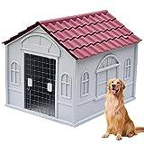 Caseta para Perros Grandes y Medianos, Caseta Exterior Mascota, Casetas para Perros Exterior, Caseta de Plastico para Perros con Puerta, Casa Perro para Mediano/Gra(Size:M (1-45kg animals),Color:rojo)