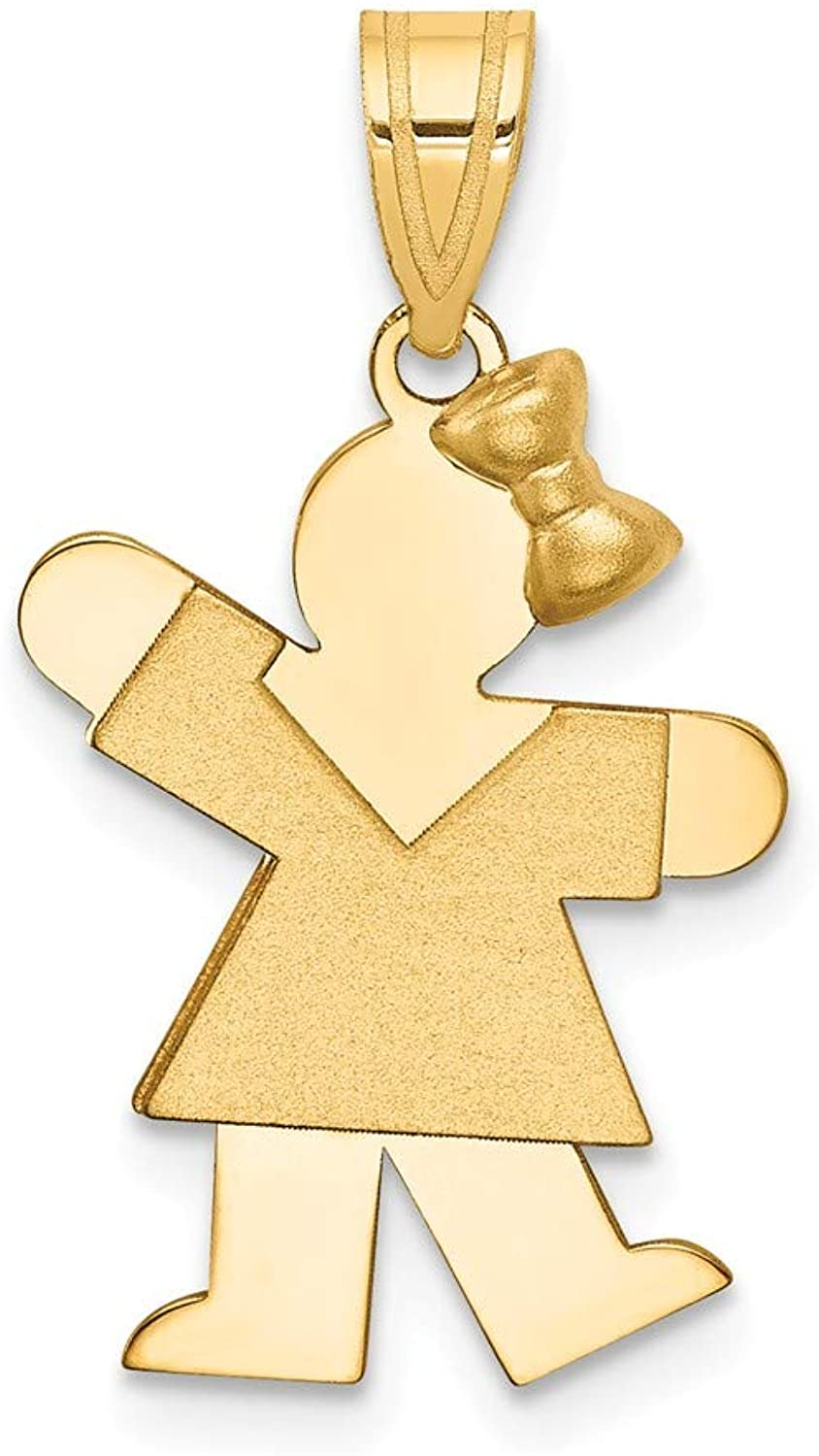 Beautiful Yellow gold 14K Yellowgold 14k Solid Engravable Girl with Bow on Right Charm