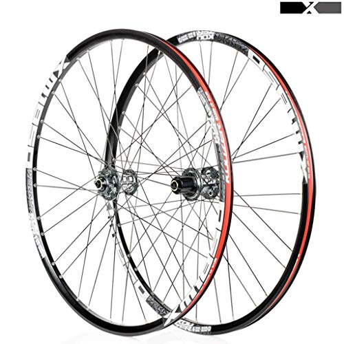 KPZZ 26'27.5' MTB Bicycle Wheelset Disc Brake 8 9 10 11 Speed ​​F2 R4 Palin Bearing Hub Fast Release 1850g, Gray, 27.5inch
