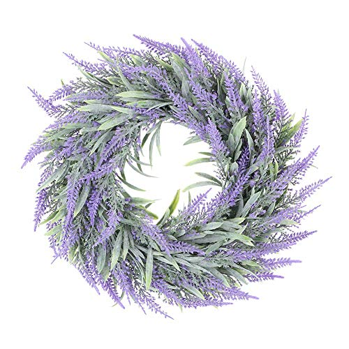 Agatige Artificial Lavender Wreath, Hanging Green Wreath for Wedding Party Cafes Bars Decoration
