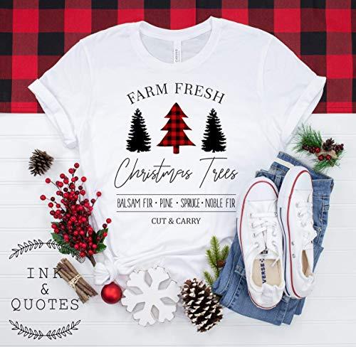 Farm Fresh Christmas Tree Shirt, Christmas Shirt, Red Buffalo Plaid Shirt, Christmas Gift, Women Shirt, Ink & Quotes
