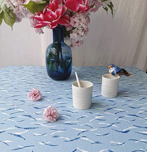 Fleur de soleil ~ Nappe Vagues Bleu Coton Enduit Non ourlée 160x200