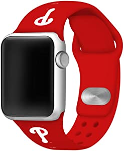 Philadelphia Phillies Silicone Sport Watch Band Compatible with Apple Watch (42mm/44mm - Red)