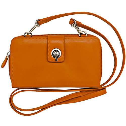 ili New York 6365 Leather Smartphone Crossbody Wallet with RFID Blocking Lining (Orange)