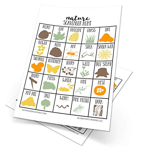 Set of 10 Nature Scavenger Hunt, Nature Party Game, Outdoor Game, Dry Erase (10 markers included)