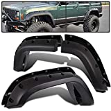 6Pcs Truck Wheel Fender Flares Replacement for Jeep 1984-2001 Cherokee XJ Sport Utility   Pocket Rivet Style Textured Black Wide Wheel Protector