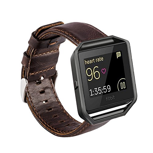 MroTech Correa Compatible para Fitbit Blaze [Sin Marco] Correa de Reloj de Cuero Genuino Vintage Pulseras de Repuesto Compatible Fitbit Blaze Smartwatch (Café)