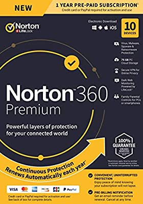 Norton 360 Premium – Antivirus Software for 10 Devices with Auto Renewal - Includes VPN, PC Cloud Backup & Dark Web Monitoring powered by LifeLock - 2020 Ready [Key card]