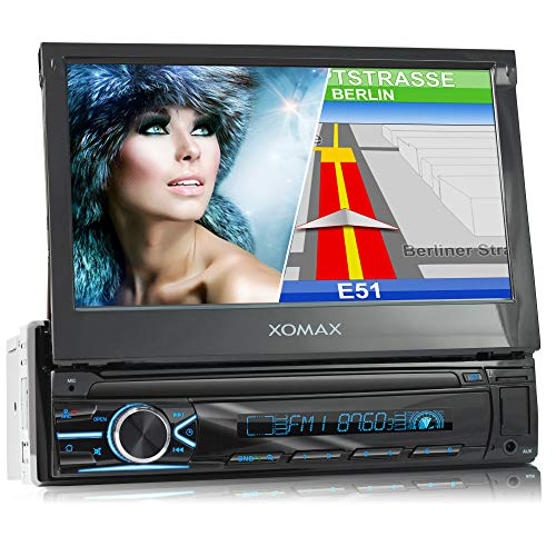 "XOMAX XM-VN745 Autoradio mit Mirrorlink I GPS Navigation I Bluetooth I 7"" / 18 cm Touchscreen Bildschirm I RDS, USB, AUX I Anschlüsse für Rückfahrkamera und Lenkradfernbedienung I 1 DIN"