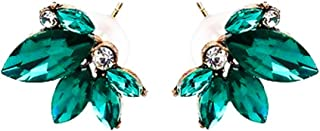 Art Deco Antique Vintage Style Green Emerald Marquis Rhinestone Bridal Bridesmaid Wedding Prom Cluster Earrings