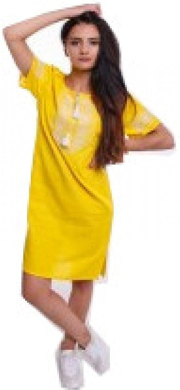 Ukrainian Embroidered Mini dress Joyful Youth  Yellow vyshyvanka