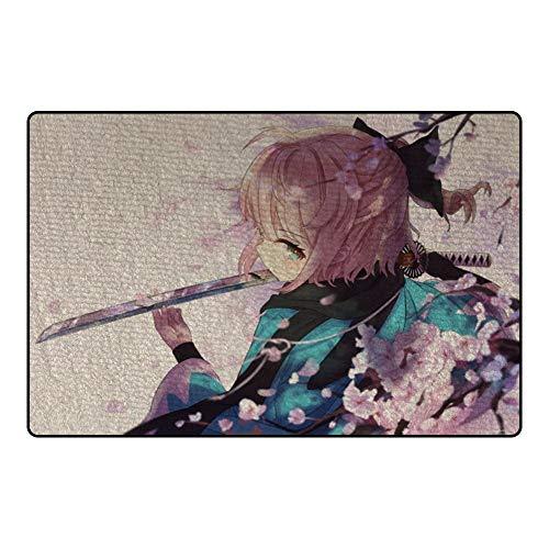 GUANGZHENG Fate/Grand Order Teppich Okita Souji und Sakura Muster Anime Game Charakter Teppich/Dekorative Bodenmatte for Wohnzimmer Schlafzimmer rutschfeste, warme Füße for Ani