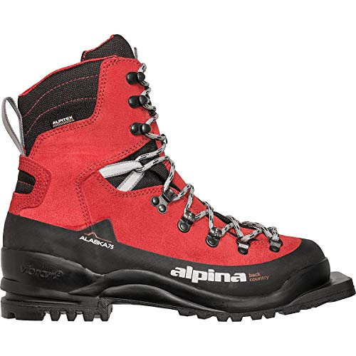 Alpina Sports Alaska 75 Leather 3 Pin 75 mm Backcountry Cross Country Nordic Ski Boots, Red/Black, Euro 39