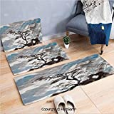 FashSam 3 Piece Non Slip Flannel Door Mat Hazy Artistic Depiction of Pine Tree Landscape on Hill Mountain with Rough Blasts Indoor Carpet for Bath Kitchen(W15.7xL23.6 by W19.6xL31.5 by W35.4xL62.9)