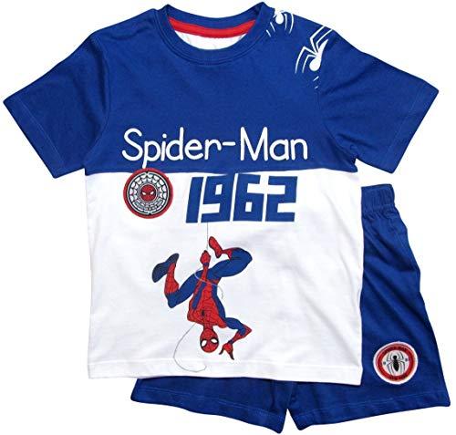 Spiderman Schlafanzug Ökotex Standard 100 Kurz Jungen (Weiß-Blau, 128)