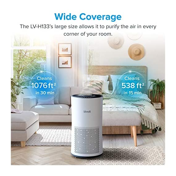 LEVOIT Air Purifier for Home Large Room with H13 True HEPA Filter, Air Cleaner for Allergies and Pets, Smokers, Mold… 7 Professional Air Care: Breathe in air that's free of 99. 97% of 0. 3 micron airborne particles such as dust, and pollen The activated carbon filter absorbs cooking odors, household odors, smoke, and volatile organic compounds (VOCs) Ideal for Allergies and Pet Owners: True HEPA Filter reduces pet odors, and traps pet fur and other contaminants It also helps relieve allergies by capturing airborne contaminants such as dust, pet dander, pollen, and mold. Wide Coverage: Enjoy fresh air in only 30 minutes in rooms as large as 1076ft², and 15 minutes in rooms as large as 538 ft². Maximum benefits 538 ft².