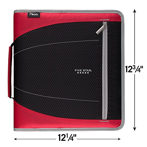 Five Star 2 Inch Zipper Binder, 3 Ring Binder, Removable File Folders, Durable, Red (73283) Photo #4