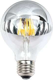 Dgyao Half Chrome Light Bulb Dimmable Globe LED Filament Vintage Bulb with Mirror 4W(40W Equivalent) G80 E26 Medium Base Warm White 2700K