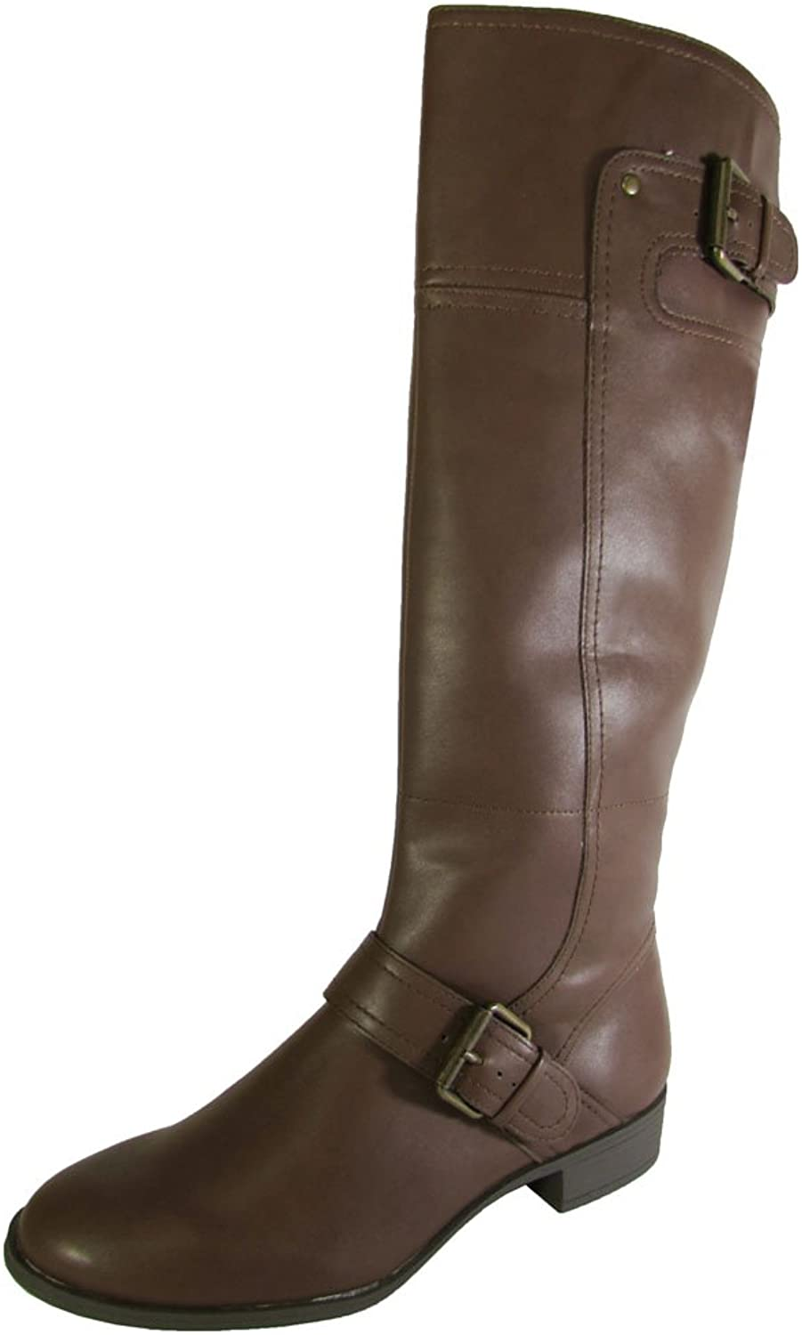 Nine West Womens Vermillio Synthetic Riding Boot shoes Brown