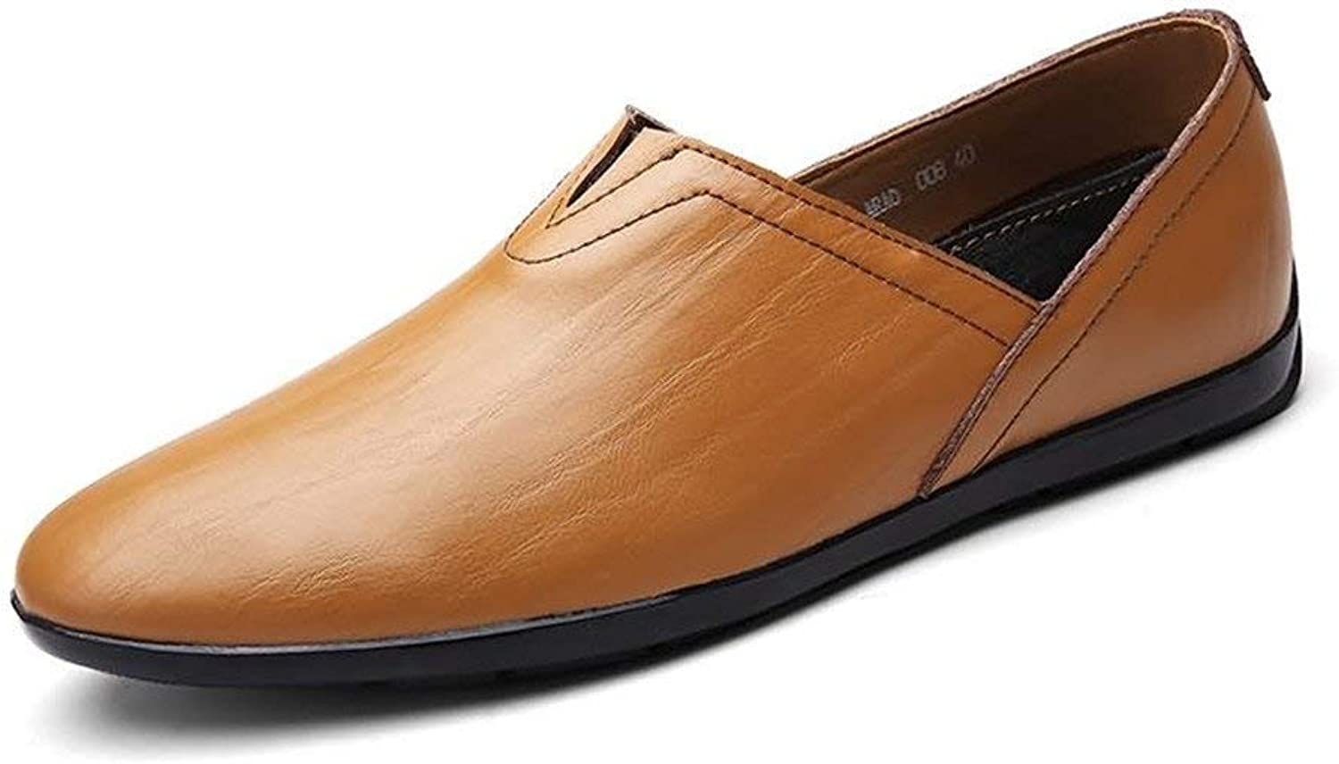 Men's Moccasins shoes, Men Loafers PU Leather Slip-on Fashionable Moccasins Lightweight Minimalism Casual shoes (color  Yellow Brown, Size  40 EU) (color   As shown, Size   One size)