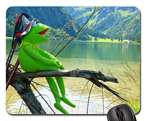 Mausepad Kermit Frosch Puppe Figur Hut Tiroler Hut Mauspad Mausmatte Gummi Computerspiel Student 25X30Cm Weihnachtsschlafsaal Geschenk Tastatur Durable Desktops Büro
