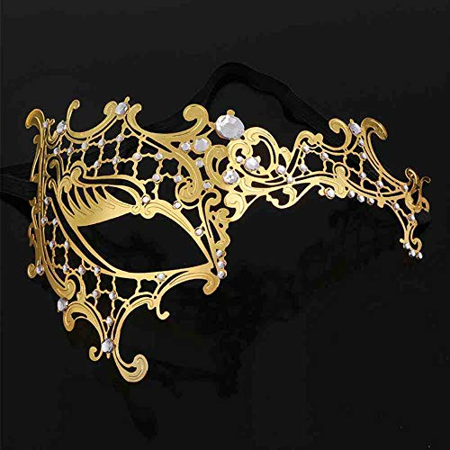ZFBMY Halloween metalen maskers make-upbal party-show met ijzer verruste diamant half gezicht prinses masker goud-wit diamond