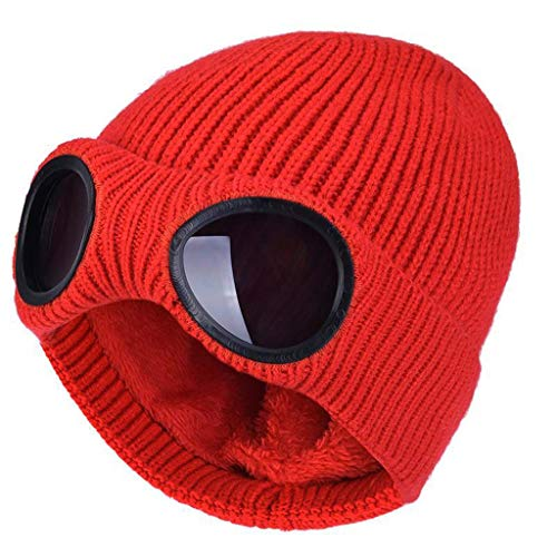 SHYPT Verdoppelte Winter-Strickmütze mit doppeltem Verwendungszweck, warme Mützen-Skimütze mit Abnehmbarer Brille für Männer, Frauen (Color : G)