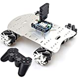 15KG Load Smart Mecanum Wheel Car Chassis Omni Wheel RC Robot Kit with Wireless Controller for PS2+ UNO R3 Board+ 4 Chanel Motor Driver Board for Arduino Educational DIY STEM Project