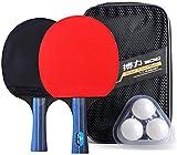 Juego de raquetas de tenis de mesa con bolsa de transporte, tenis de mesa y pelotas para niños, adultos, actividades al aire libre