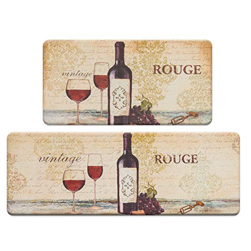 """FRESHMINT Farmhouse Kitchen Mats Sets 2 Piece Cushioned Anti-Fatigue Comfort Mat for Home & Office Ergonomically Engineered Memory Foam Kitchen Rug Waterproof Non-Skid, 30"""" by 17"""" + 47"""" by 17"""",Wine"""