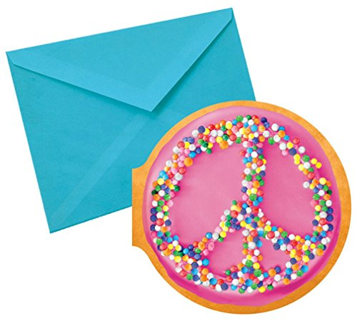 iscream Sugarlicious! Pack of 8 'Peace Sprinkles' Donut Chocolate Scented Notecards with Envelopes