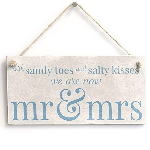 schlitzgnff mit Sandy Toes. MR & Mrs–Handarbeit Holzschild Strand Hochzeit/Married Schild...