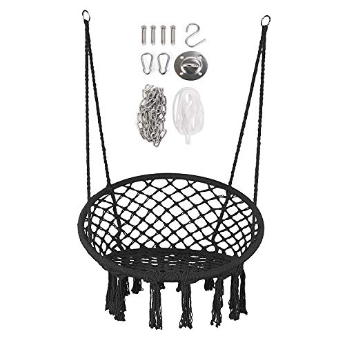Moonlove Tassel Round Hanging Swing Chair, Handmade Knitted Cotton Rope...