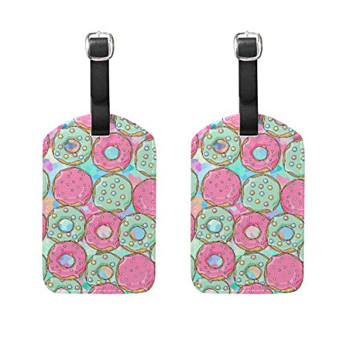 LORONA Donuts Luggage Tags Strings Travel ID Label for Suitcase Carry-on Baggage, Set of 2