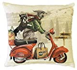 Authentic Jacquard Cotton Woven European Tapestry Pillow Covers / Decorative Gift Throw Pillow Cases / Cushion Cover 18X18 inches Retro Vintage Dogs Weimaraner and French Bulldog on Vespa Scooter Red