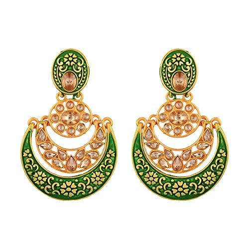 Efulgenz Juego de pendientes de araña de estilo indio, chapado en oro antiguo, para boda, perlas de imitación, Kundan
