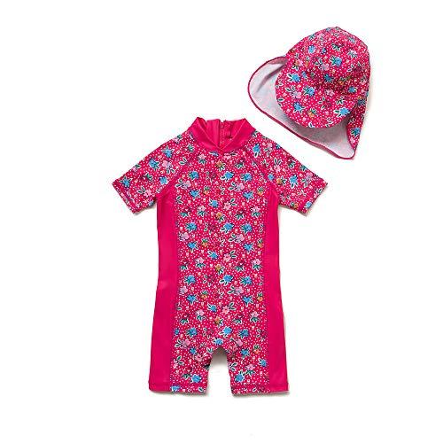 Baby Mädchen Ein stück Kurzärmel-Kleidung UV-Schutz 50+ Badeanzug MIT Einem Reißverschluss(Rosa-GDBlumen,9-12M)