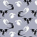 GRAPHICS & MORE Black and White Dragons Pattern Premium Roll Gift Wrap Wrapping Paper