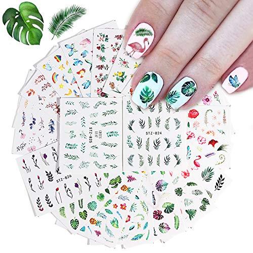 Kalolary 29 Blatt Nagelsticker Blumen Wassertransfer, Nagelaufkleber Selbstklebend Nail Art Stickers Nageltattoos Nageldesign Sticker Nagel Decals DIY Nagelkunst Abziehbilder