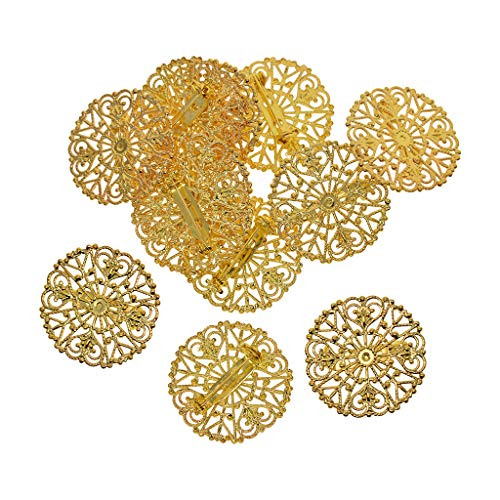 Bonarty 12x Blumen Brosche Anzug Hochzeit Dekoration Anstecknadeln Anstecker Pin Geburtstags Geschenk Freunde oder Familie - Golden