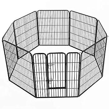 Pawhut Luxe Parc enclos modulable Acier 8 Panneaux et 1 Porte pour Chiens 80L x 100H cm Noir