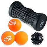 Invincible Fitness Massage Ball & Foot Roller 4-in-1 Set, Lacrosse Ball, Peanut Massage Ball, Spiky Ball, for Trigger Point Therapy, Self-Myofascial Release, Deep Tissue, Plantar Fasciitis