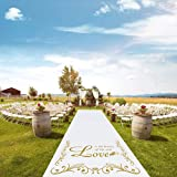Jazord Wedding Aisle Runner 100 x 3 Feet Wedding Ceremony for Outdoor and Indoor with Golden Words Pattern Wedding Decorations Carpet Runner for Party