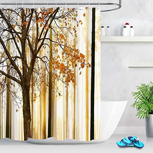 LB Herbst Duschvorhang Baum im Wald Bad Vorhang 150x180cm mit Haken Landschaft Thema Polyester Wasserdicht Antischimmel Badezimmer Gardinen
