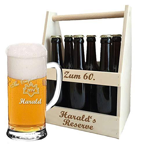 Bierkrug + Holz-Bierträger + inklusive kostenloser Gravur | personalisiertes Bier-Geschenk-Set für Biertrinker | Flaschenträger graviert | Bierglas (B6)