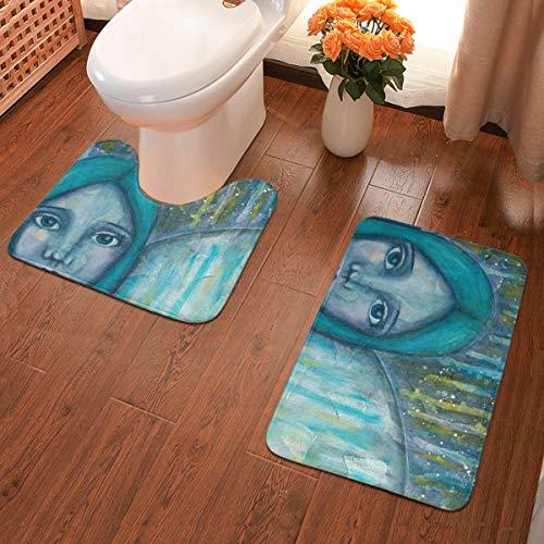 Komorebi12 2-delige zachte anti-slip badmatset, engel, inclusief 60 x 40 cm hoog absorberend toiletbril en 50 x 40 cm microvezel zacht pluizig badtapijt, antislip mat wasbaar.