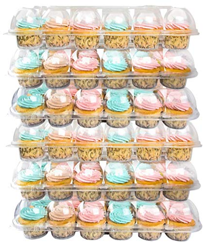 Read About BAKERY BEST [6 Sets of 24 Counts] Cupcake Carrier, Plastic Container Holder for 24 Cupcak...
