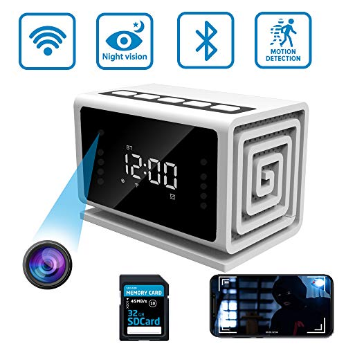 Hidden Camera Clock Spy Camera Wireless Security Nanny Cam with 1080P Full HD, WiFi, Night Vision, Motion Detection, Bluetooth Speaker, Watch from Your Phone